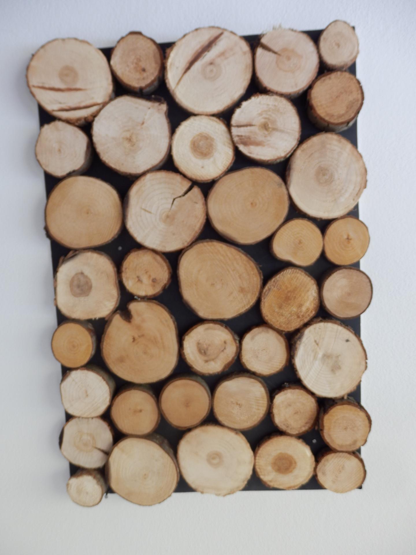 Tvoření je radost - Dekorace à la nika na dřevo. Sololitová deska natřená na černo, silikon, špalíčky. :-)