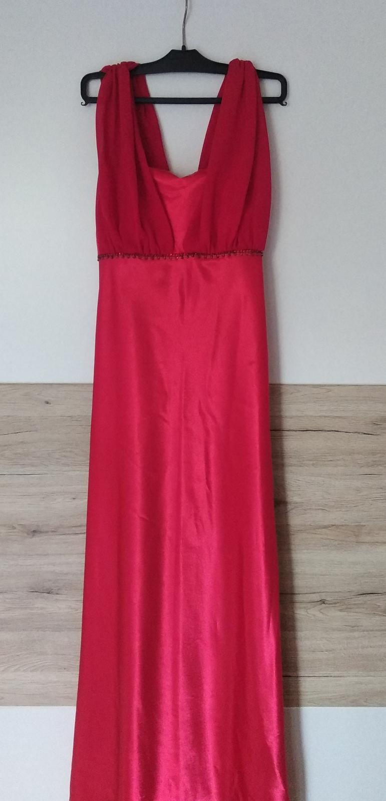 Dlhé spoločenské šaty v jasnej červenej  - Obrázok č. 1