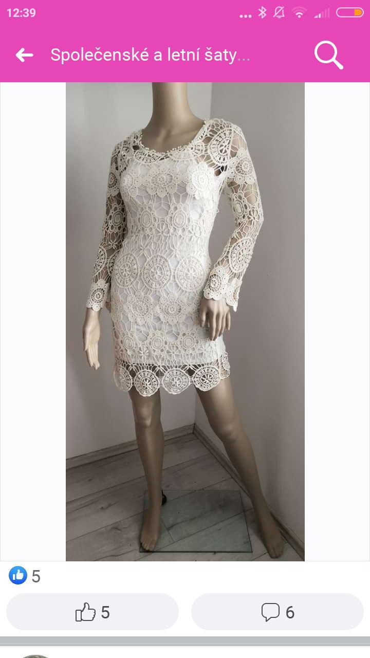 bílé šaty z krajky s tílkovou podšívkou - Obrázek č. 1