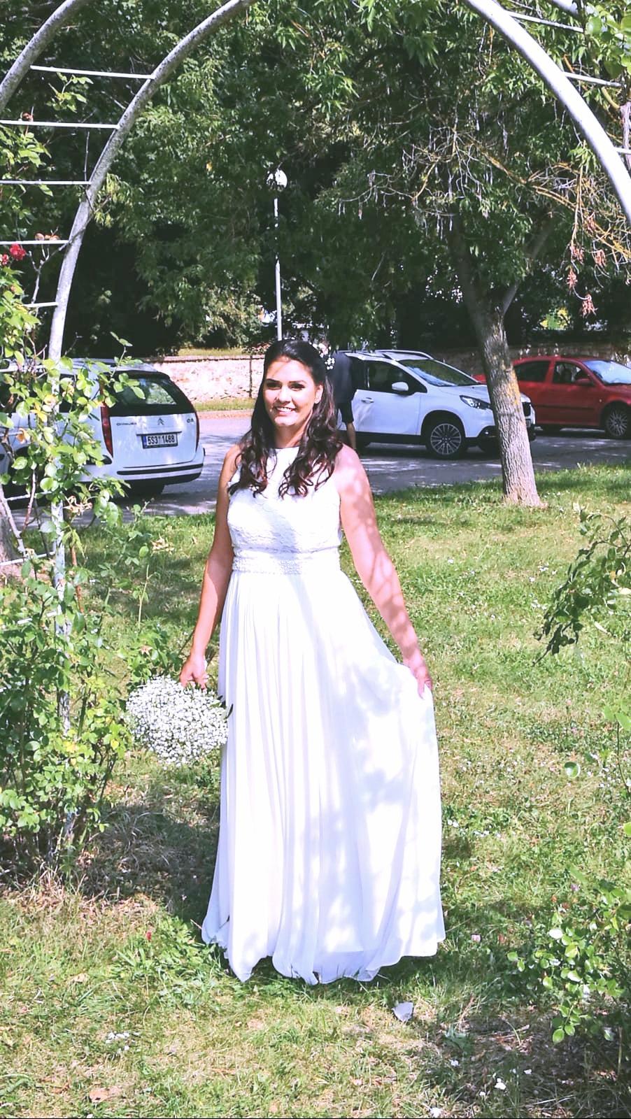 Svatební šaty s perličkami vel.40 182cm+4cm - Obrázek č. 1