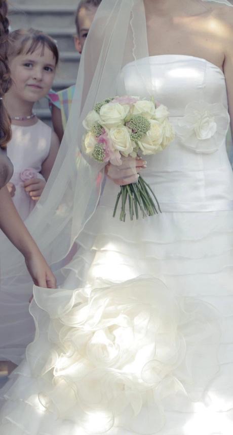 Hodvábne svadobné šaty s doplnkami (36-38) - Obrázok č. 1