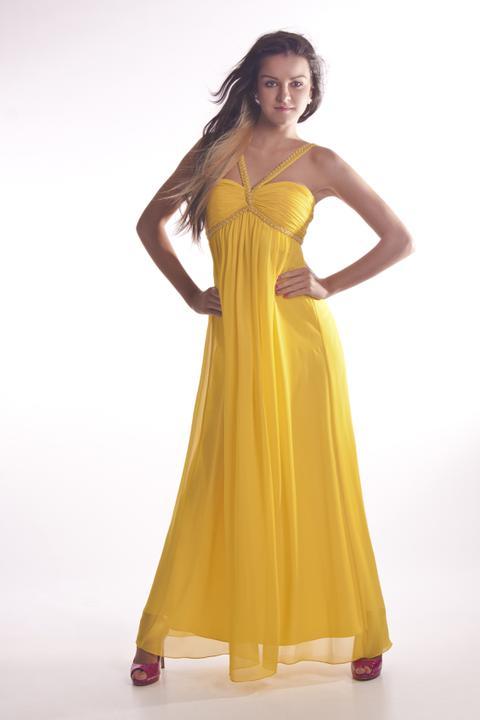 Spoločenské šaty - Žlté šifónové šaty antického strihu ... 87141deeb80