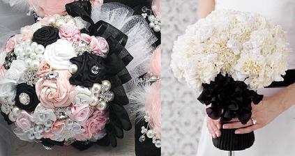 Tak tyhle dvě krásky spojíme :)) Určitě budou růžové karafiáty, černá stuha, bílý tyl :)) a nějaká brož asi taky :))