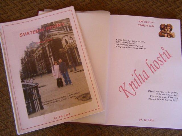 Vlaďka a Jirka - Svatební noviny a kniha hostů, které mi udělala Helenka (helito)
