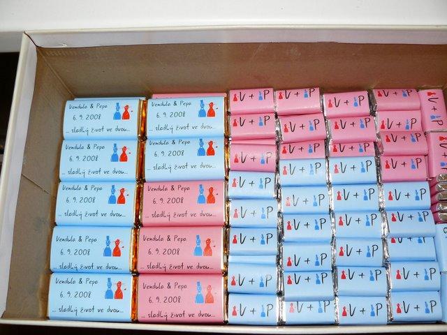 Přípravy - Vendula a Pepa 6.9.2008 - cokoladky pro hosty a ke kaficku