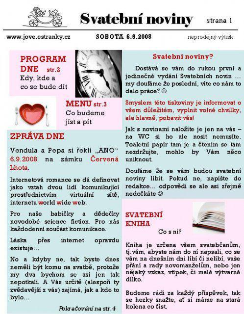 Svatební noviny - Obrázek č. 1