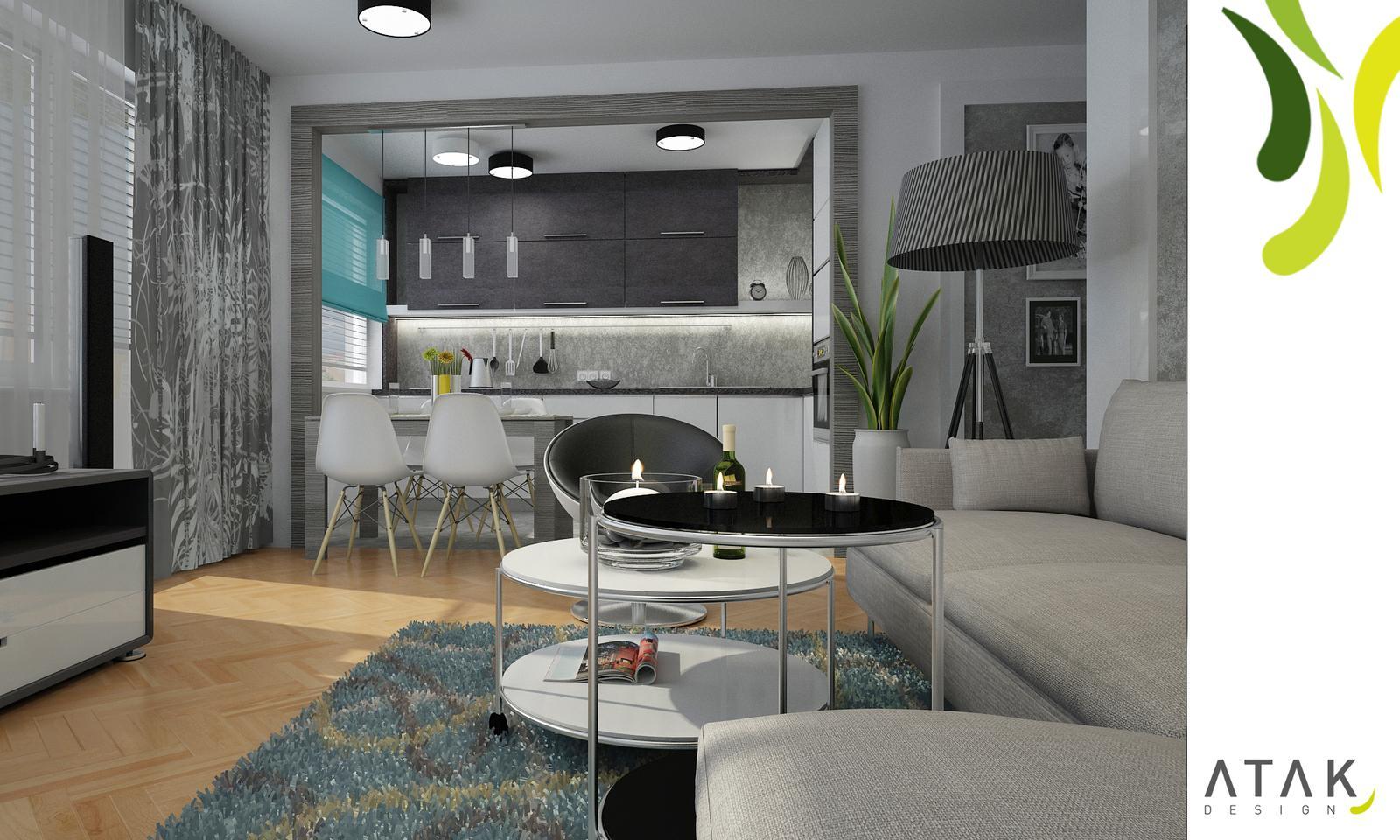 Kompletní rekonstrukce bytu 3+1 - vizualizace, vybrané zařízení a plány - Obývací prostor varianta 2 - vizualizace