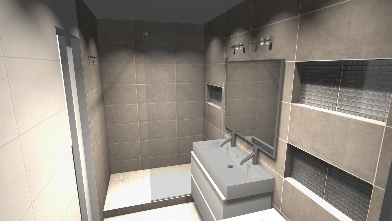 Kompletní rekonstrukce bytu 3+1 - vizualizace, vybrané zařízení a plány - Koupelna varianta 2 - vizualizace