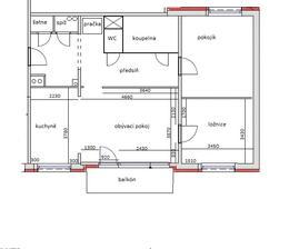 Naplánované dispozice bytu po rekonstrukci