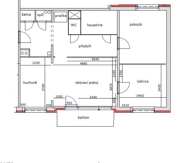 Kompletní rekonstrukce bytu 3+1 - vizualizace, vybrané zařízení a plány - Naplánované dispozice bytu po rekonstrukci