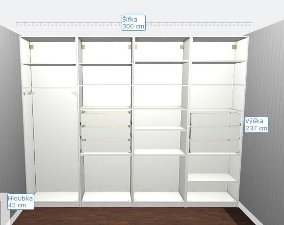 Kompletní rekonstrukce bytu 3+1 - vizualizace, vybrané zařízení a plány - Skříň do předsíně PAX - návrh vnitřního uspořádání