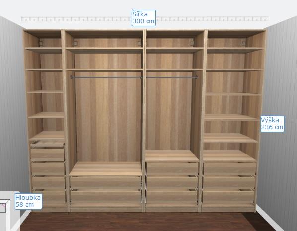 Kompletní rekonstrukce bytu 3+1 - vizualizace, vybrané zařízení a plány - Skříň do ložnice PAX - levá část moje, pravá přítele