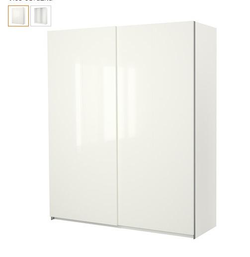 Kompletní rekonstrukce bytu 3+1 - vizualizace, vybrané zařízení a plány - Dveře na skříň do předsíně Hasvik lesklá bílá - už jsou koupené, protože je přestali vyrábět, zbytek skříně PAX se koupí později :-)
