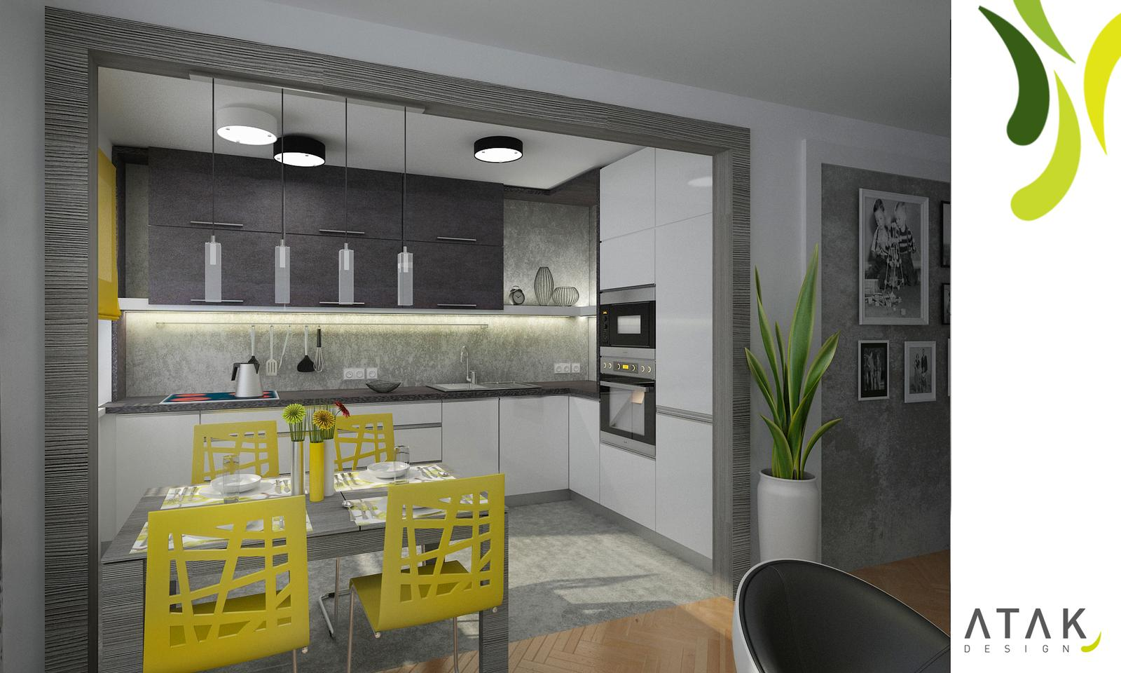 Kompletní rekonstrukce bytu 3+1 - vizualizace, vybrané zařízení a plány - Vizualizace varianta 1