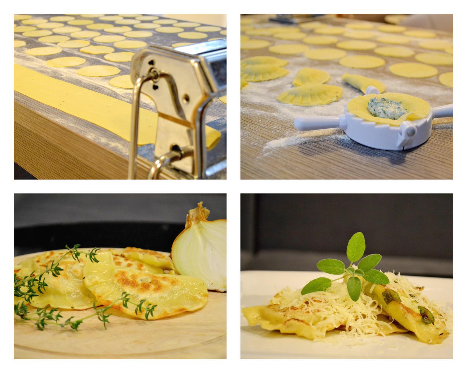 Upečeno a uvařeno u nás doma - Domácí ravioli - verze 1 s masem a zelím, verze 2 s ricottou a špenátem na šalvějovém másle
