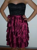 Černo - vínové šaty bez ramínek Fishbone, 36