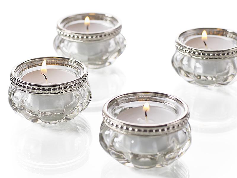 Sklenené svietniky s kovovou obručou vhodné na svadobnú výzdobu stolov - Obrázok č. 1