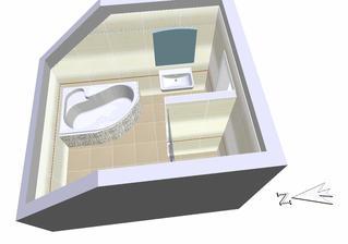 Vizualizace horní koupelny s vybraným obkladem. Ve skutečnosti je obklad moc krásný.