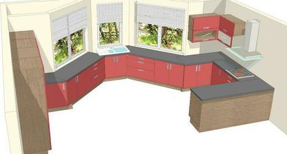 Tak první nástřel kuchyně - vizualizace. Ještě nejsem úplně spokojená, budou ještě změny. Místo červené bude fialová ve vysokém lesku.