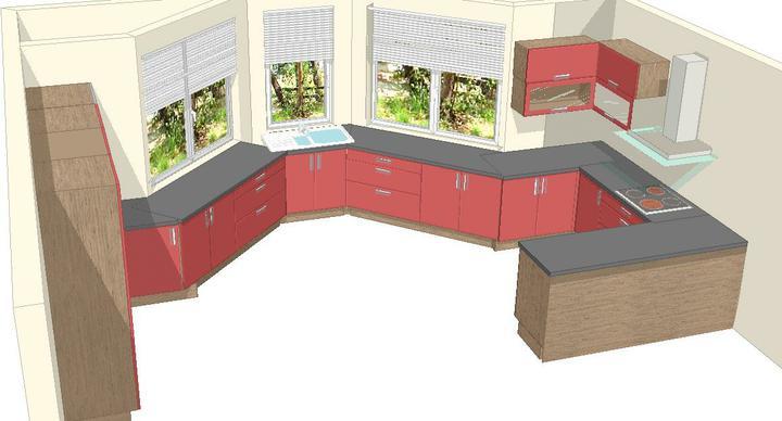 Milenium 229 - Tak první nástřel kuchyně - vizualizace. Ještě nejsem úplně spokojená, budou ještě změny. Místo červené bude fialová ve vysokém lesku.