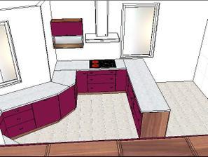 Horní skříňka bude situována vedle digestoře, aby se lépe uklízely skleničky z myčky....