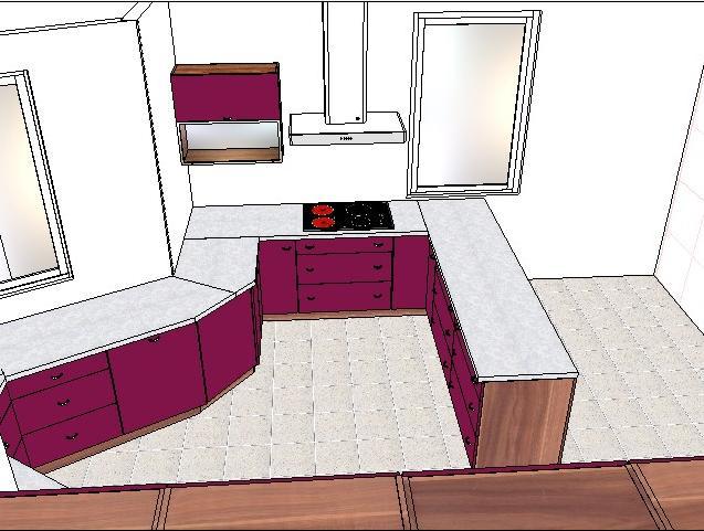 Milenium 229 - Horní skříňka bude situována vedle digestoře, aby se lépe uklízely skleničky z myčky....