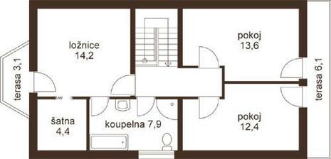 ložnice ve spojení šatna, koupelna ano.