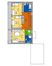 Ideální návrh pro spojení ložnice a koupelny. Celková užitková plocha: 132.3 m2 ,  Celková obytná plocha: 85.0 m2. IDEÁLNÍ ČLENĚNÍ POKOJŮ V PATŘE.