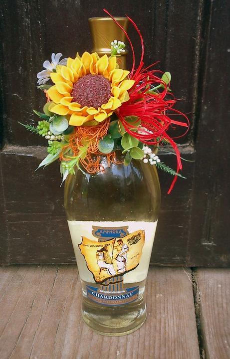 Moje hoby-moja láska *aranžovanie* - ozdobená flaška vína