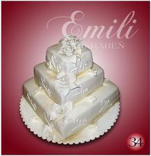 tak toto je naša centrálna torta - kvietky budú striekané so zlatým práškom. torta bude dvojaká (1 patro - čokoládová s kúskami banánov, 2 a 3 poschodie - orechové s karamelovým krémom s broskyňami) - 9.3.2013 sme si ju objednali