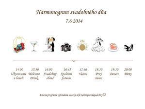 Vlastnoručne vyrobený harmonogram svadobného dňa