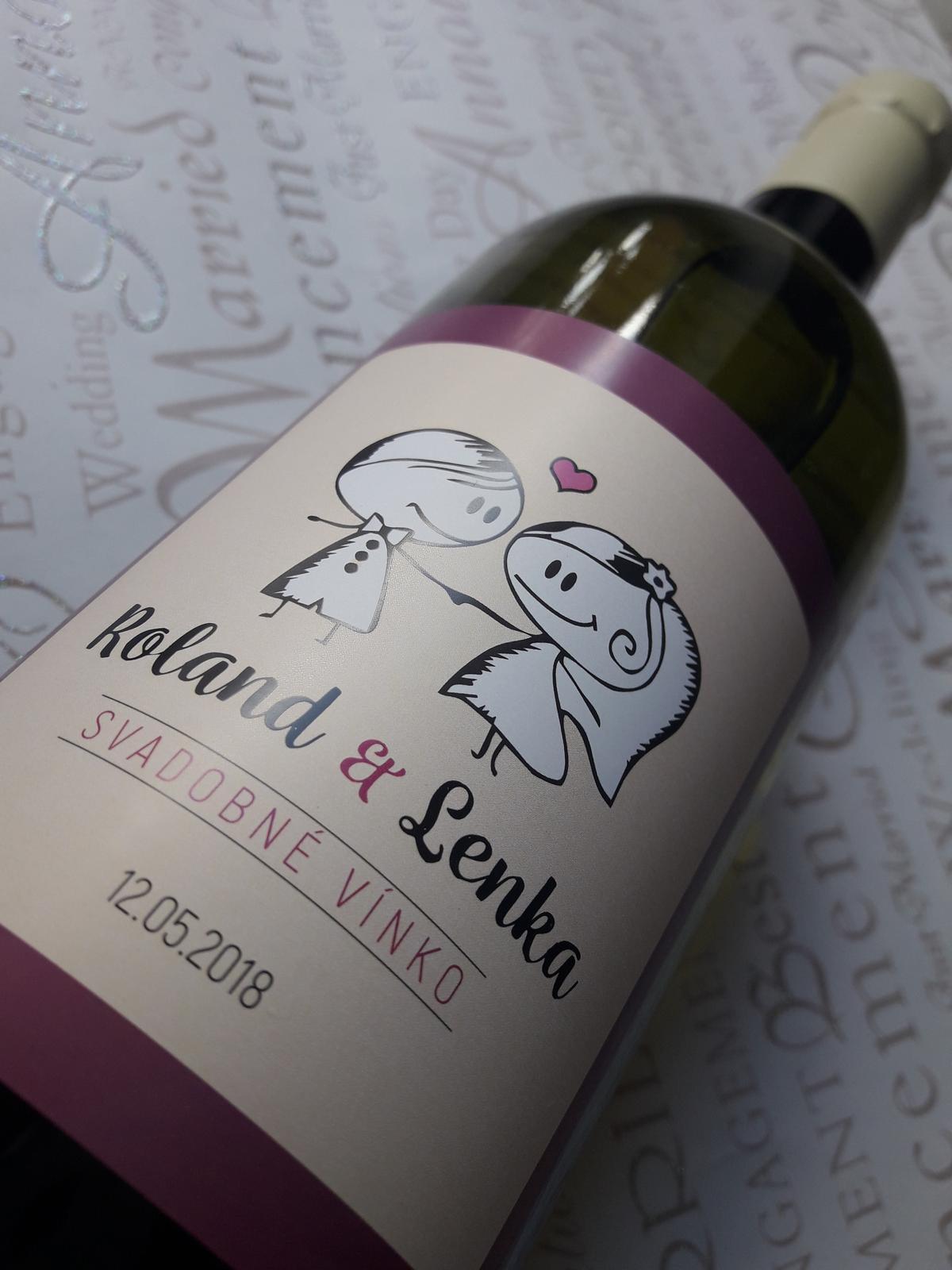 vinomaravilla - Svadobná etiketa s panáčikmi. Veľmi obľúbená a milá forma svadobnej etikety