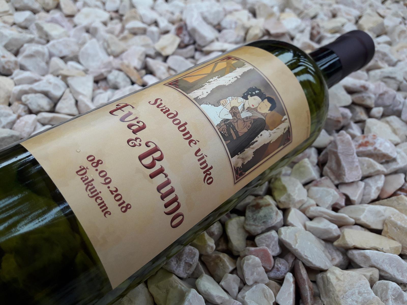 vinomaravilla - Svadobné vínko s etiketou, ktorú sme spracovali na základe oznámenia. Rómeo a Júlia