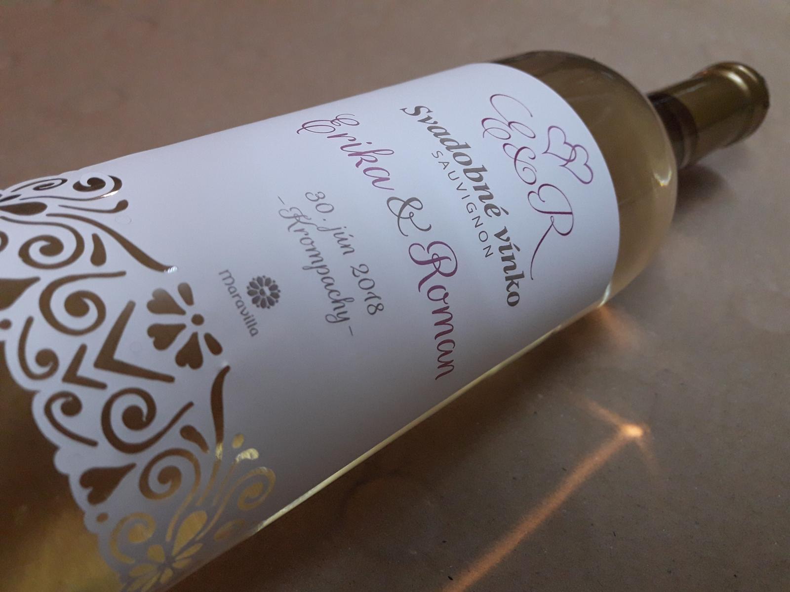 vinomaravilla - Svadobné víno s vyrezávanou etiketou ladenou do jemnej ružovej