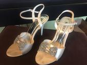 Svadobne sandale s mašlou z kamienkov, 41