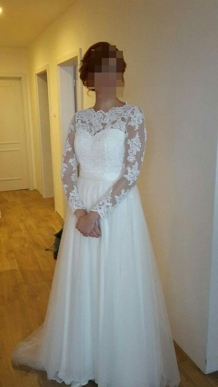 Čipkované svadobné šaty s dlhým rukávom - Obrázok č. 1