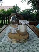 Dekorovaná sklenice jako stojan na svíčku ,