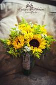 svatební kytice - slunečnice,