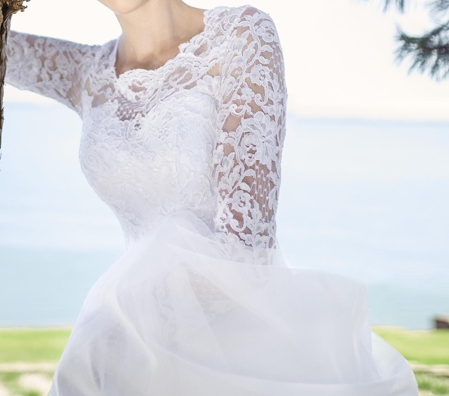 Svadobné šaty s dlhým rukávom - Obrázok č. 2
