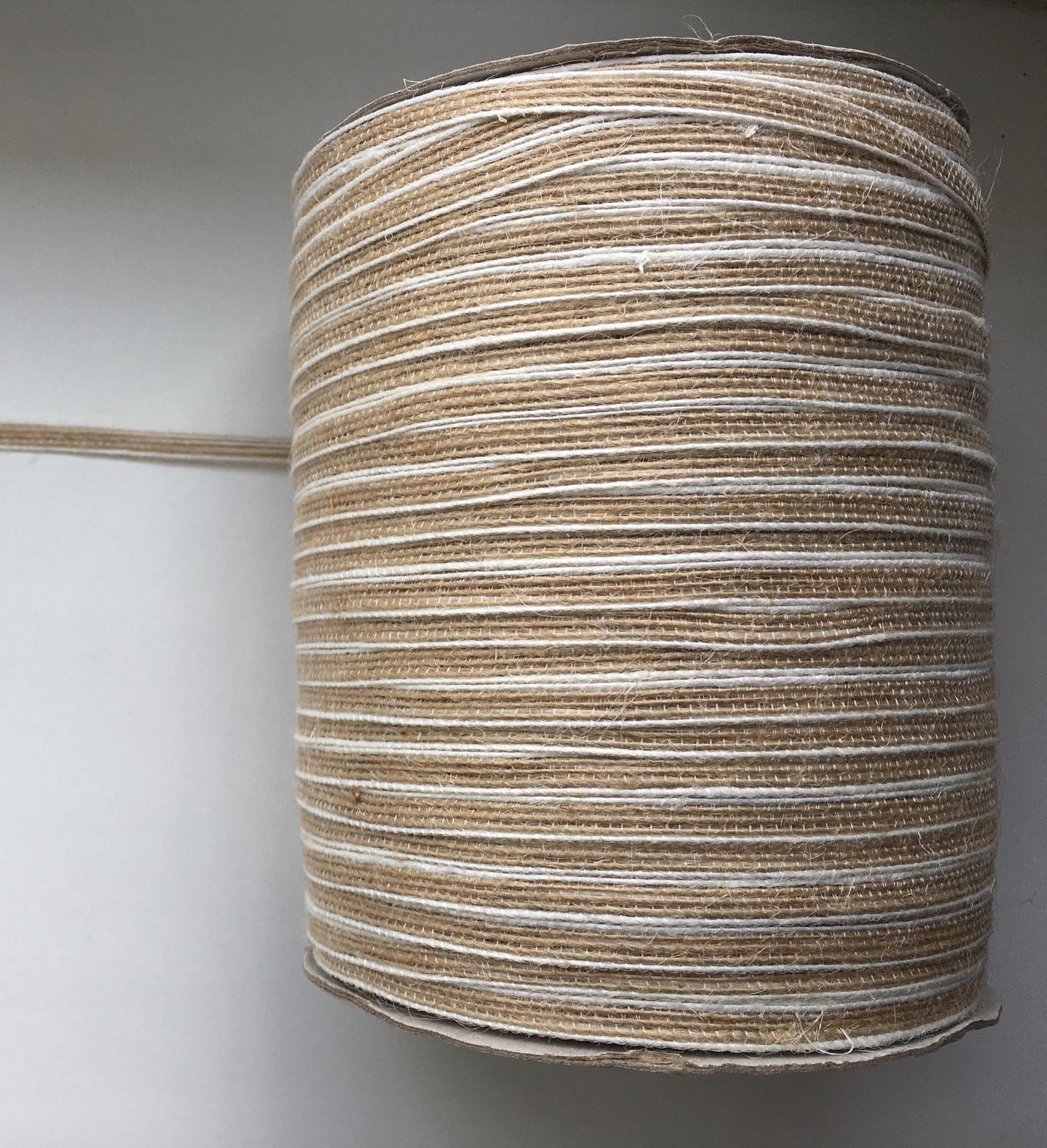 Jutová stuha s bílým lemem 6 mm na vývazky - Obrázek č. 1