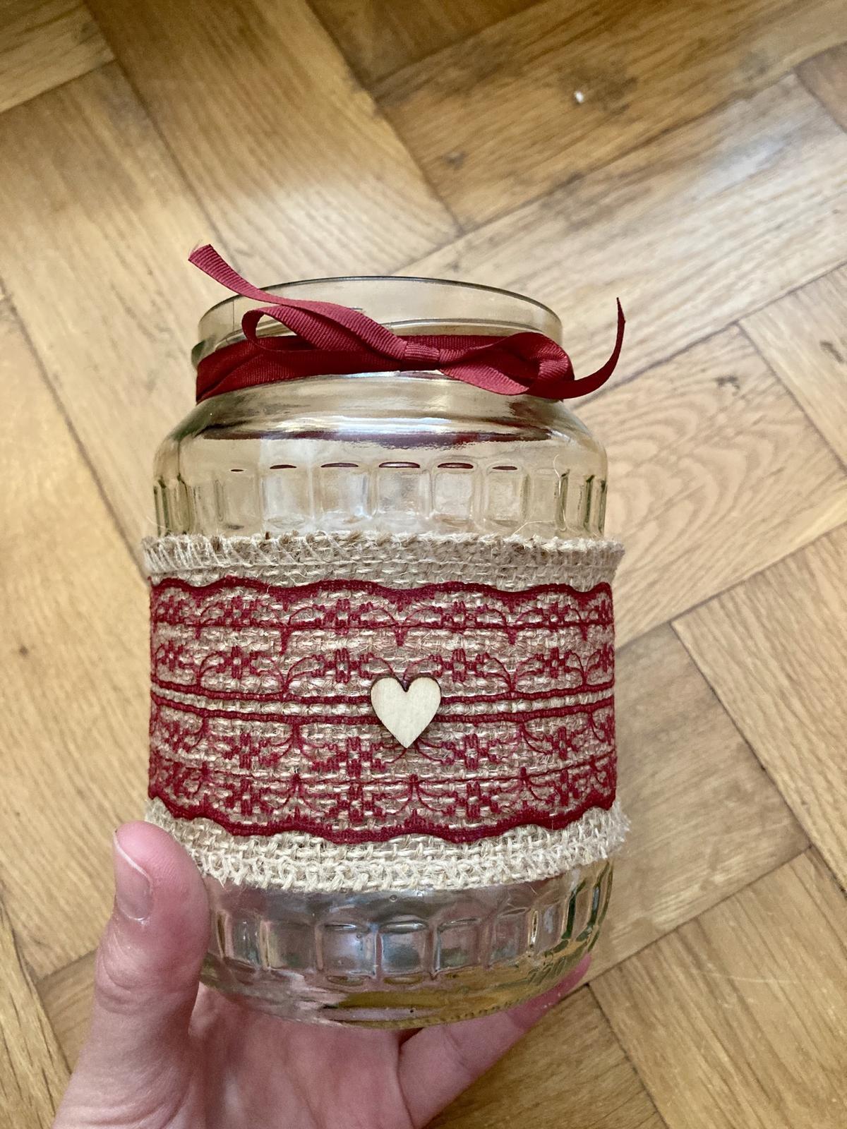 Zavařovací sklenice s jutou a VÍNOVOU krajkou 18ks - Obrázek č. 1