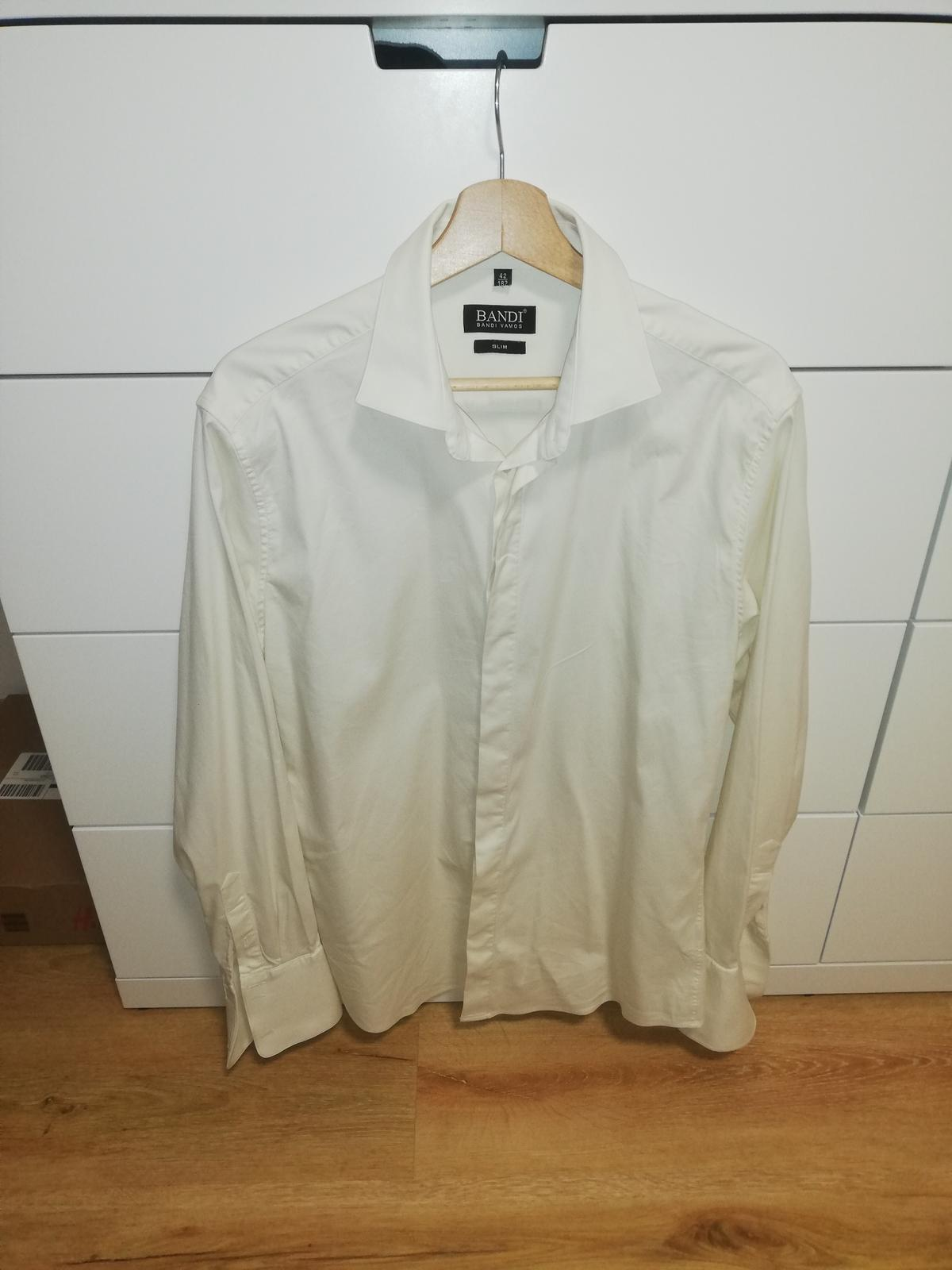 BANDI svatební košile SLIM-CATEDUX Cremo (vel. 42) - Obrázek č. 1