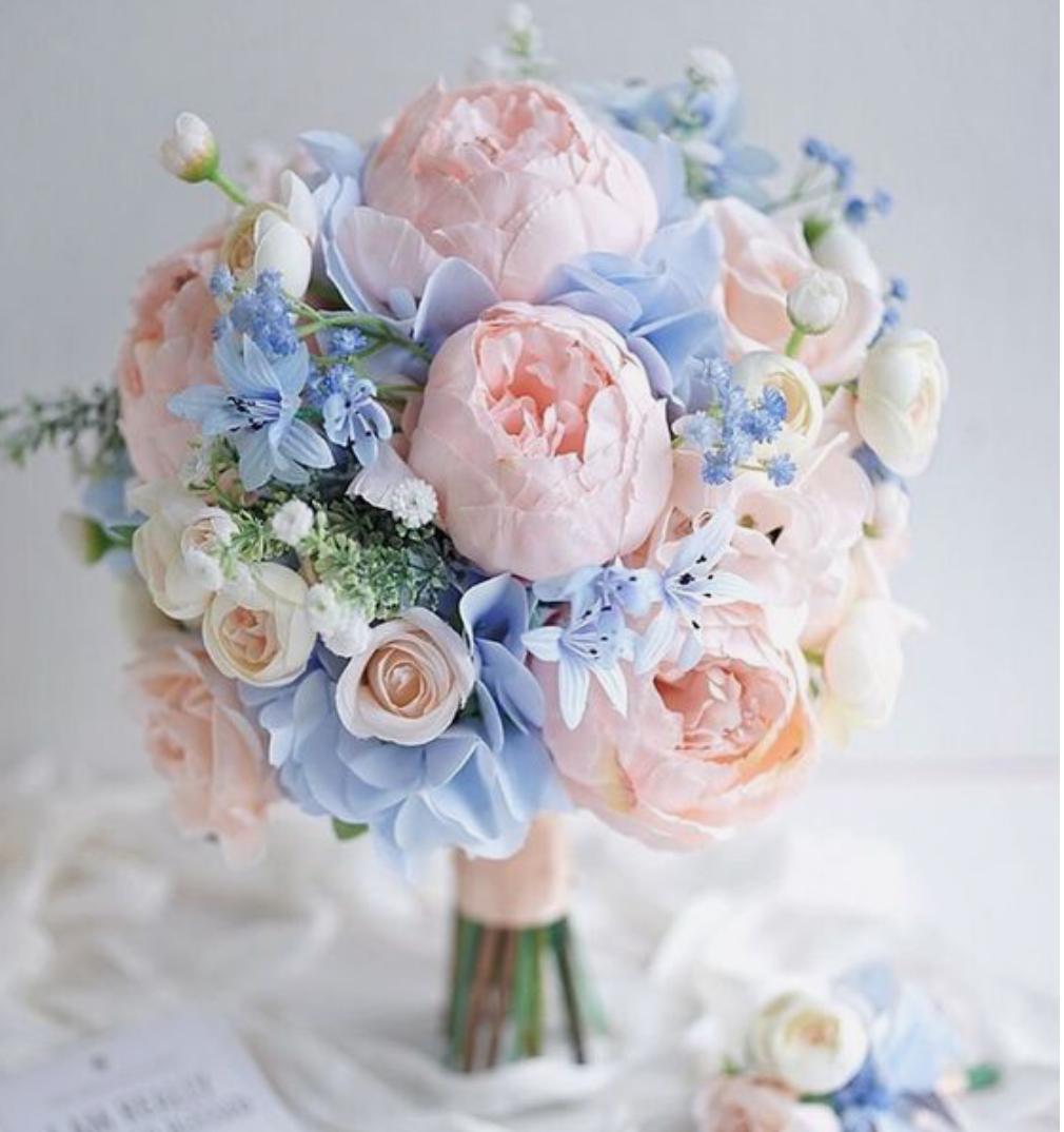 Svatba DustyRose a DustyBlue - Inspirace pro svatební kytici
