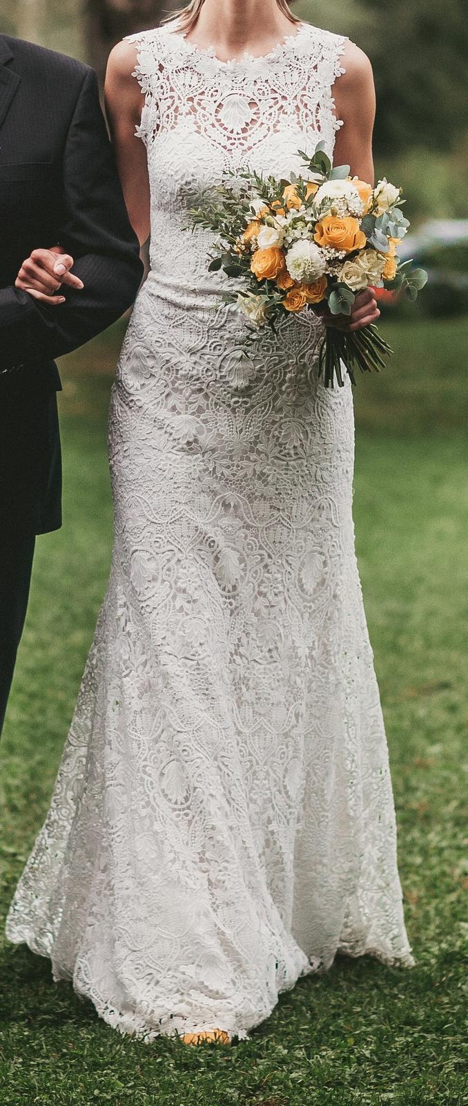 Celokrajkové svatební šaty v přírodní bílé barvě, velikost viz popis - Obrázek č. 1