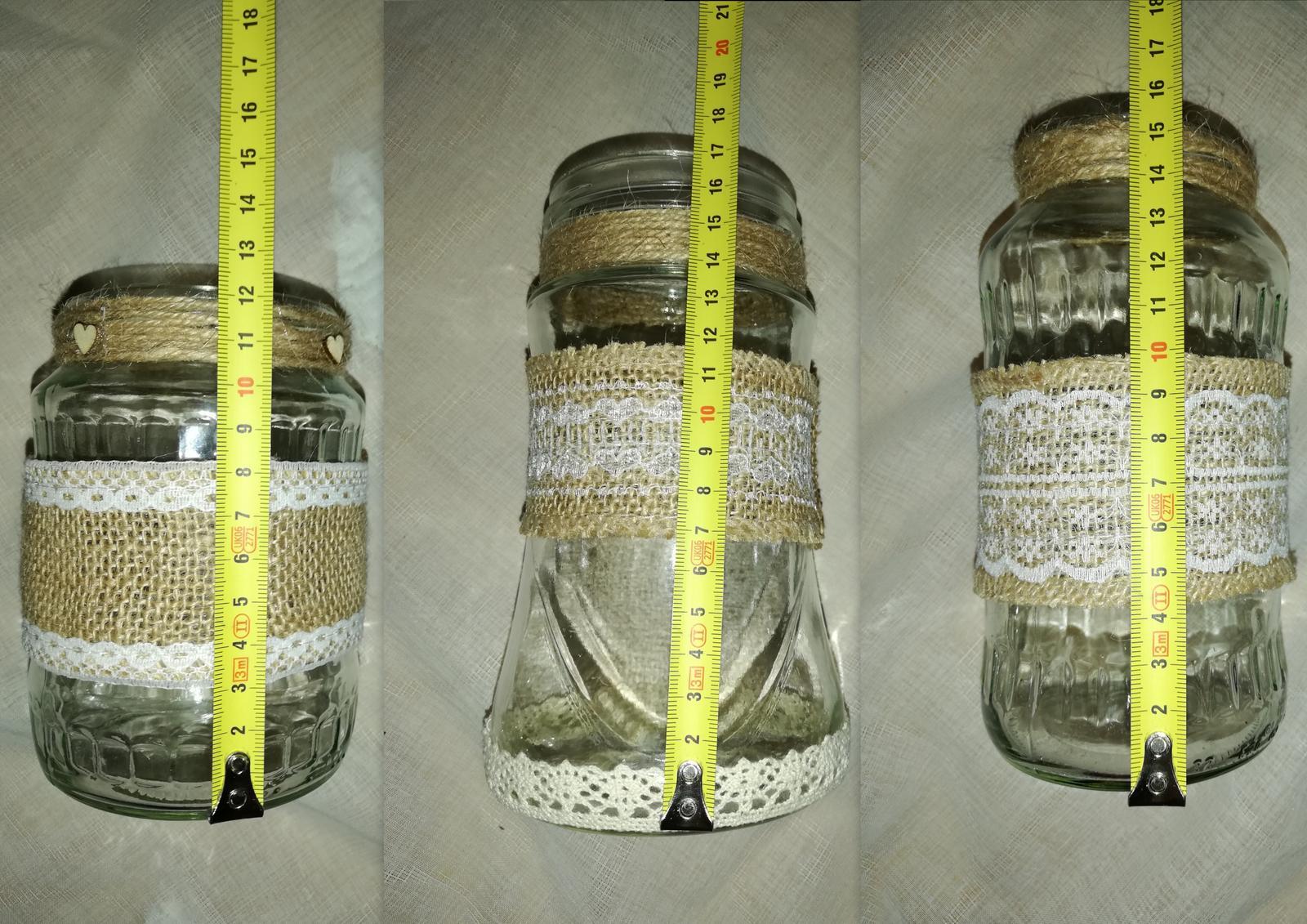 Sklenené vázy alebo lampáše s jutou - Obrázok č. 3