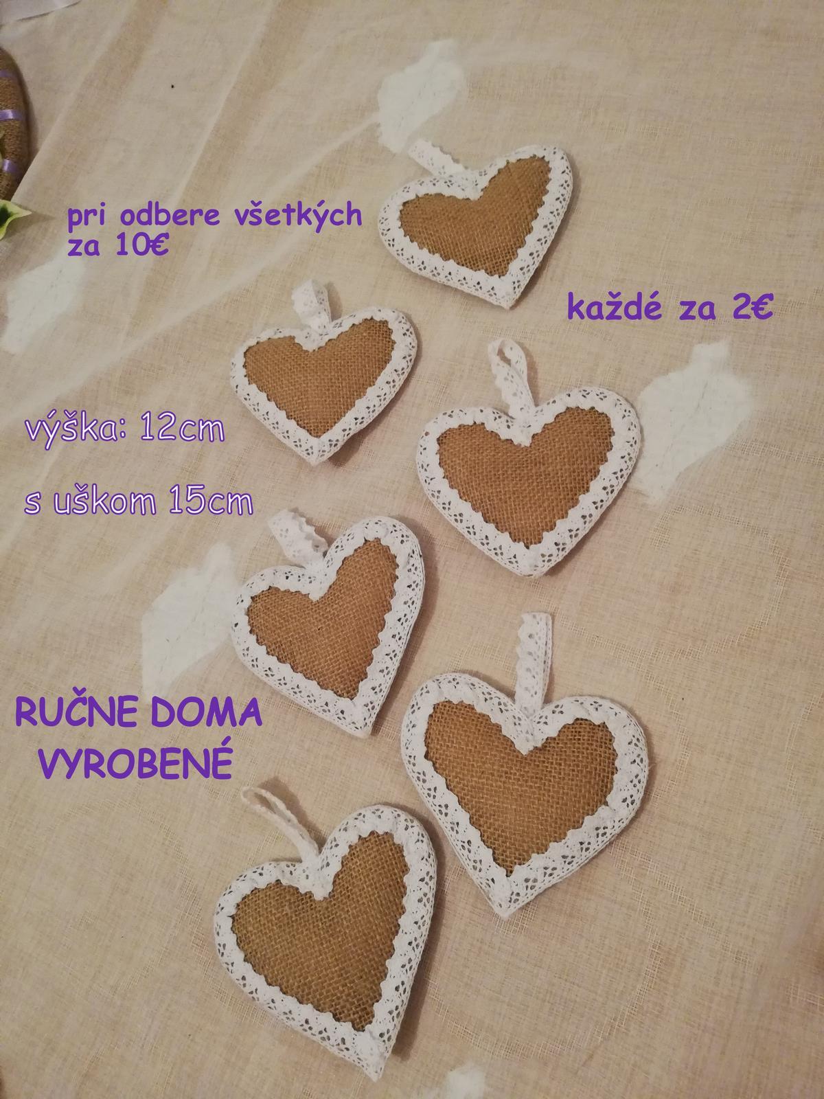 Jutové srdiečka s čipkou - handmade - Obrázok č. 1