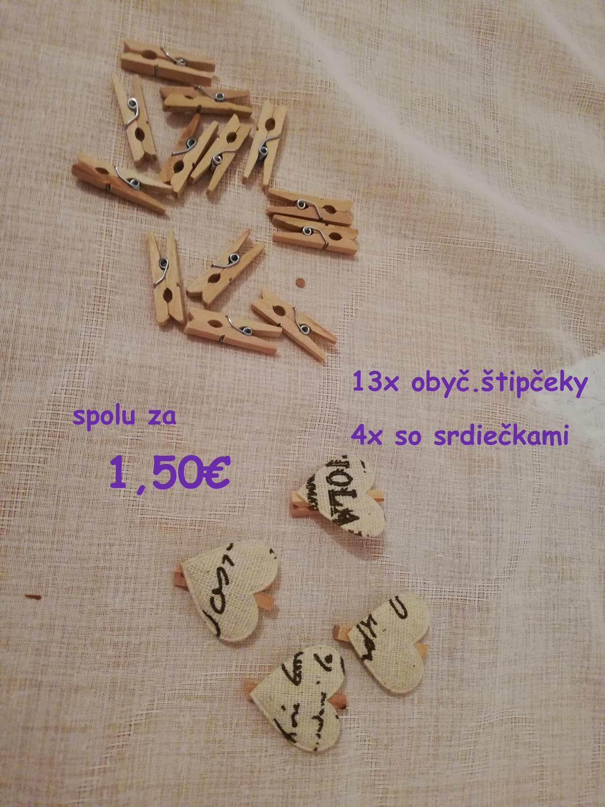 Fialové a prírodné štipčeky so srdiečkami, aj bez srdiečok - Obrázok č. 2