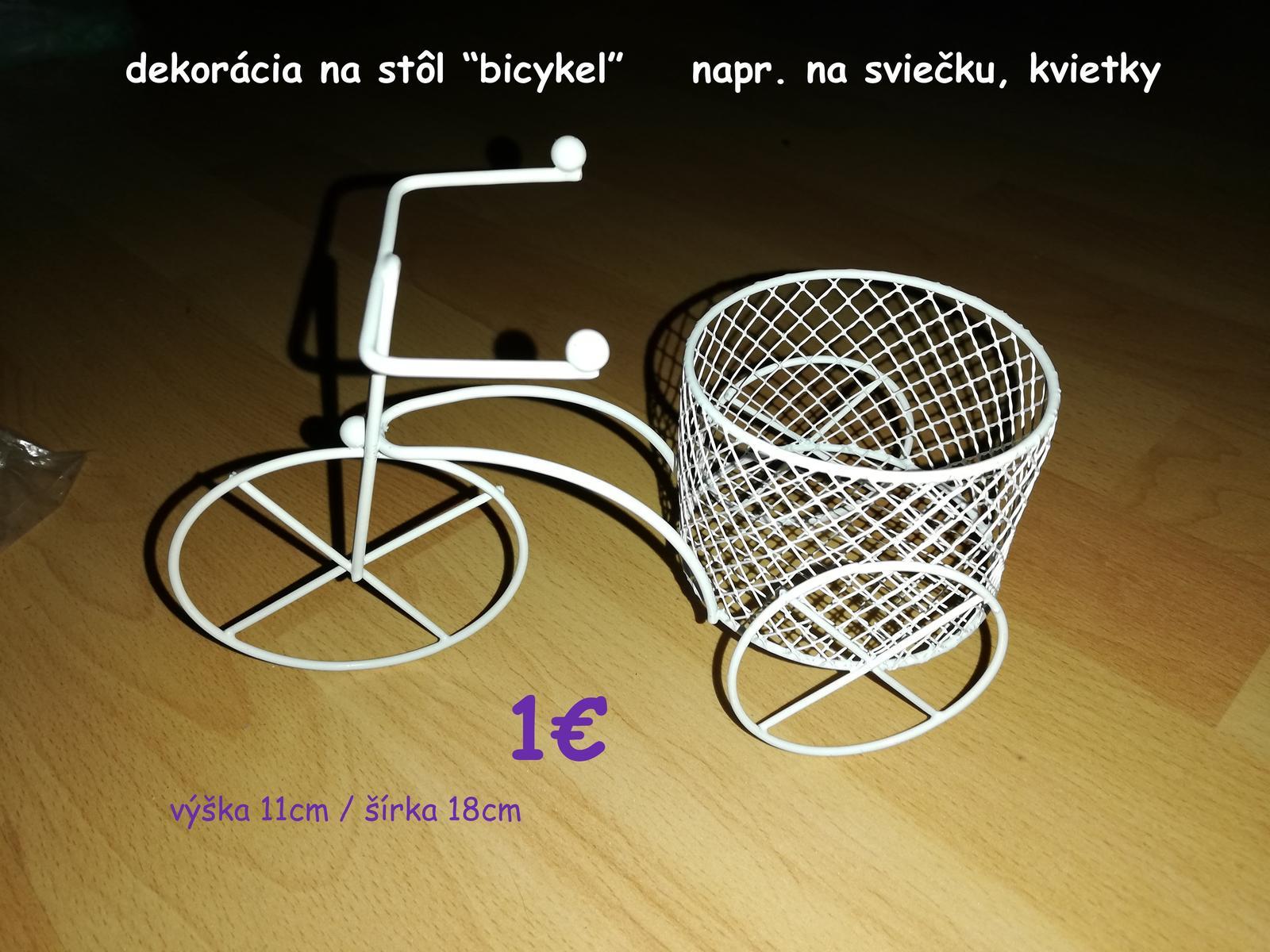 dekorácia kanvička s levanduľou, dekorácia biela - kovový bicykel - Obrázok č. 2