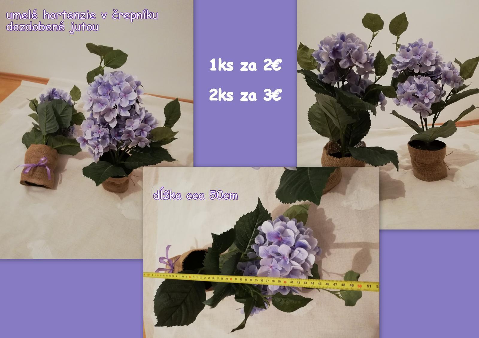 Fialové hortenzie v kvetináči - umelé - Obrázok č. 1