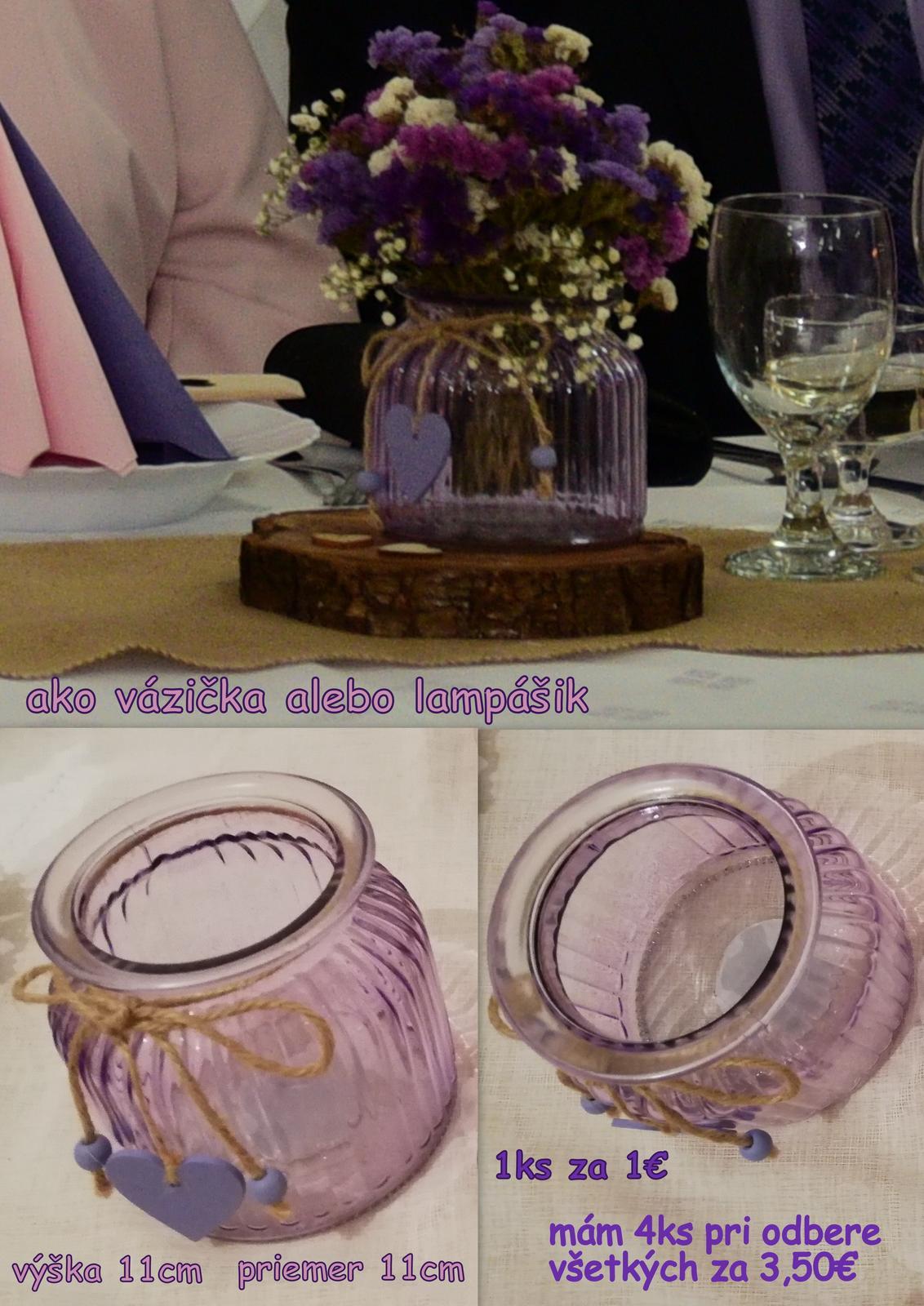 Svadobné dekorácie - fialová, ružová, ivory, juta - komplet - Obrázok č. 1